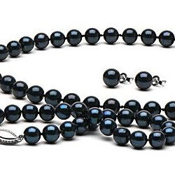 Parure 3 gioielli di perle Akoya 45/18 cm 6.5-7 mm nere AA+
