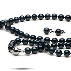 Parure 3 gioielli di perle Akoya 45/18 cm 7-7.5 mm nere AA+