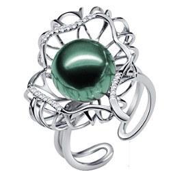 Anello Argento 925 zirconi e perla nera di Tahiti 10-11 mm