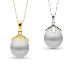 Pendente Oro 14k e perla Australiana bianca a goccia 10-11 mm AA+