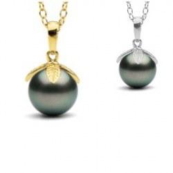 Pendente Oro 14k e perla di coltura di Tahiti nera 9-10 mm