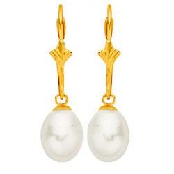 Orecchini in oro 18k con perle d'acqua dolce a goccia bianche 8,5-9 mm