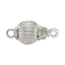 Fermaglio sferico 8 mm in oro bianco 14k striato per filo di perle