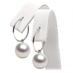 Orecchini creoli oro 18k perle di coltura Australiane bianche qualità AAA