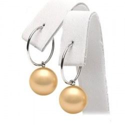 Orecchini Creoli in oro 18k con perle filippine dorate AAA