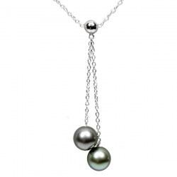 Collana Argento 925 40 cm con 2 Perle di Tahiti AAA
