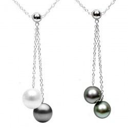 Collana 40 cm Argento 925 con Perla Australiana e Perla di Tahti qualità AAA