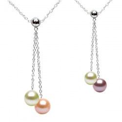 Collana Argento 925 40 cm con 2 Perle d'Acqua Dolce qualità DOLCEHADAMA