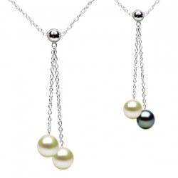 Collana Argento 925 40 cm con 2 Perle d'Acqua Dolce qualità AAA
