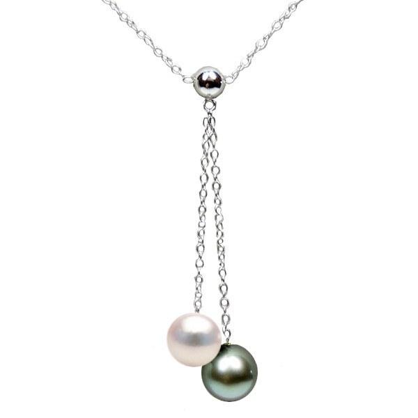 Collana 40 cm Argento 925 con Perle Akoya e di Tahti qualità AAA