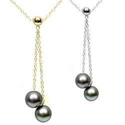 Collana 45 cm con 2 Perle di Tahiti 10-11 o 11-12 mm AAA