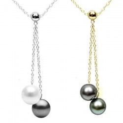 Collana 40 cm Oro 14k con Perla Australiana e Perla di Tahti qualità AAA