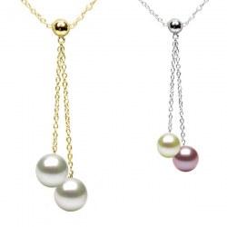 Collana oro 14k 45 cm con 2 Perle d'Acqua Dolce qualità DOLCEHADAMA