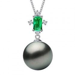 Pendente in argento tormalina verde e perla di Tahiti