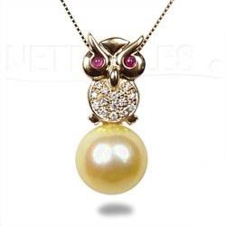 Pendente Gufo Oro 18k e Diamanti con perla delle Filippine dorata