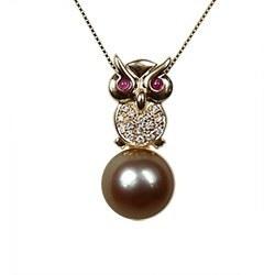 Pendente a forma di Gufo in oro 18k con diamanti e perla di Tahiti AAA