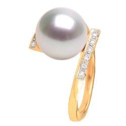 Anello in oro 18k con diamanti e perla australiana bianca 9-10 mm AAA