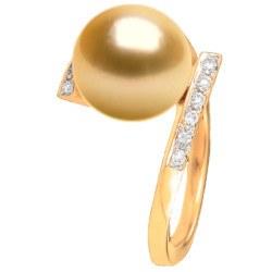 Anello Oro 18k diamanti perla delle Filippine dorata 9-10 mm AAA
