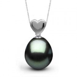 Pendente Cuore in Argento 925 perla di Tahiti a forma di goccia AAA