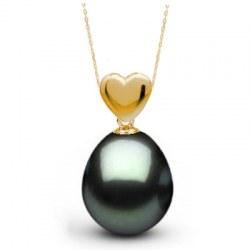 Pendente Cuore in Oro 18k perla di Tahiti a forma di goccia AAA