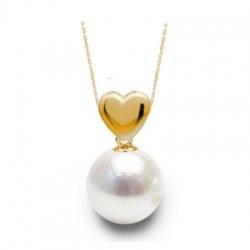 Pendente Cuore in oro 18k con perla Akoya bianca AAA