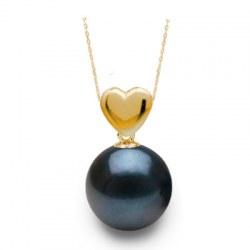 Pendente Cuore in oro 18k con perla Akoya nera AAA