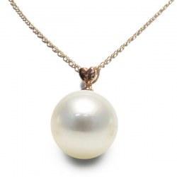 Pendente in oro rosa 18k perla coltivata Australiana bianca argentata AAA