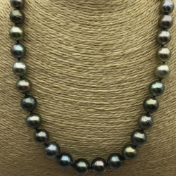 Collana 43/44 cm perle nere di Tahiti da 9 a 11 mm di qualità AA grigio verde