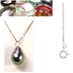 Ciondolo Argento 925 perla barocca di Tahiti da 8 a 9 mm