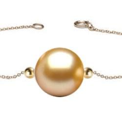 Braceletto/Collana e 2 biglie in Oro 18k e perla dorata delle Flilippine AAA