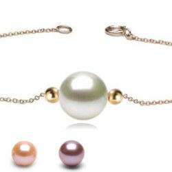 Braccialetto / collana con 2 perle in oro 18k e perla coltivata DOLCEHADAMA