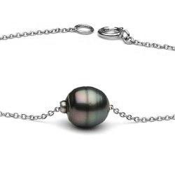 Braccialetto 18 cm catenina oro bianco 14k, Perla nera Tahiti barocca da 8-9 mm