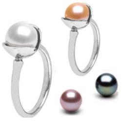 Anello Argento 925 con perla d'acqua dolce 8-9 mm AAA