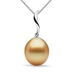 Pendente in oro 18k e perla delle Filippine dorata AA+ a goccia