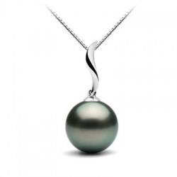 Pendente in Oro bianco 18k con perla nera di Tahiti