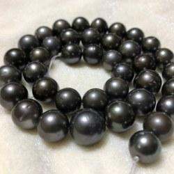 Collana 43/44 cm perle nere di Tahiti da 9 a 11 mm di qualità AA nere antracite