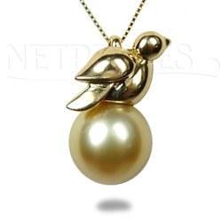 Pendente uccellino Oro 18k con perla delle Filippine dorata