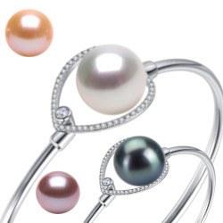Braccialetto Argento 925 con perla d'acqua dolce 10-11 mm AAA