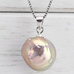 Pendente Argento Perla Soufflé Acqua Dolce 13 mm quasi rotonda