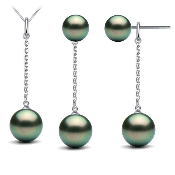 Parure in argento 925 pendente e orecchini con 5 perle nere di Tahiti