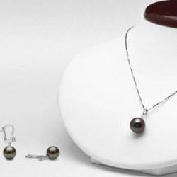 Parure di 2 gioielli Oro 18k Pendente Orecchini Perle di Tahiti Diamanti
