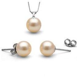 Parure 2 gioielli, pendente e orecchini, perle Acqua Dolce Rosa Pesca AAA