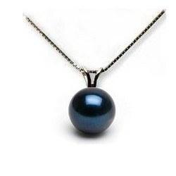 Catenina 40 cm e pendente in oro bianco 14k con perla di coltura Akoya nera 7-7,5 mm AAA