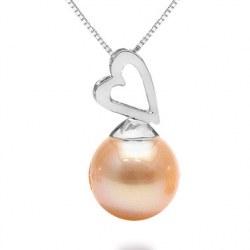 Pendente in argento 925 con perla d'acqua dolce rosa pesca DOLCEHADAMA