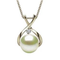 Pendente in Argento 925 con zircone e perla Akoya bianca AAA