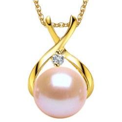 Pendente oro 9k diamante con perla pesca 7-8 mm DOLCEHADAMA catenina 45 cm oro 18k