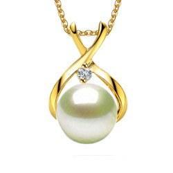 Pendente in Oro 9k con diamante e perla Akoya bianca AAA