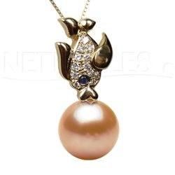 Pendente Pesciolino oro 18k Diamanti con perla d'acqua dolce DOLCEHADAMA
