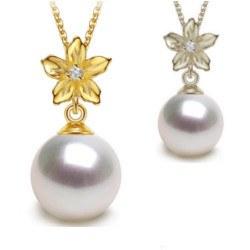 Pendente in Oro 9k, diamante e perla Akoya bianca AAA