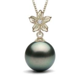 Pendente in argento con perla nera di Tahiti e zircone